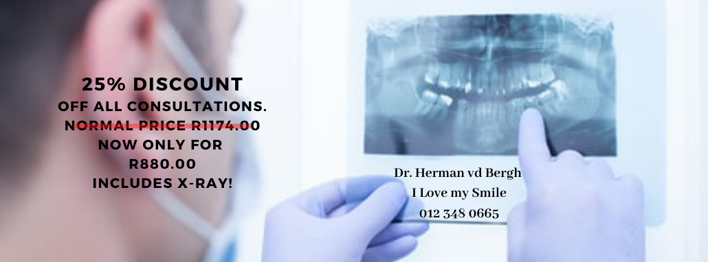 25% discount off all consultations. normal price r1174.00 now only for r880.00 includes x-ray!